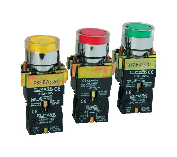 Taster sa led diodom EL2-BW3371 220V zeleni ELMARK